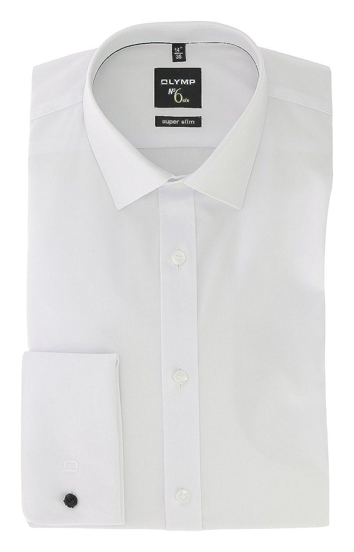 Olymp No.6 - Camisa Formal - Liso - Clásico - Manga Larga - para Hombre Blanco Blanco 40