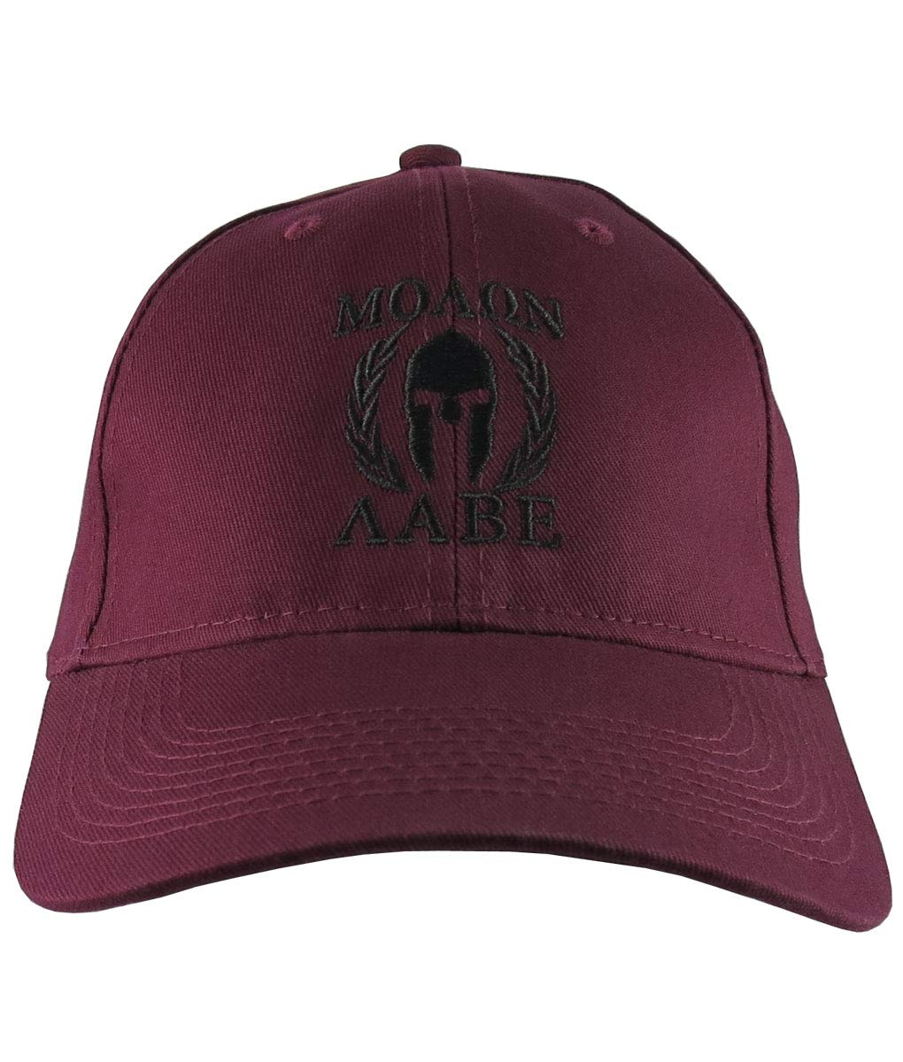90d2706d Amazon.com: Molon Labe Spartan Warrior Mask in Laurels Black Embroidery on  an Adjustable Burgundy Red Structured Baseball Cap: Handmade