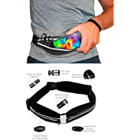 Roadwo cangurera deportiva impermiable / Cinturón Deportivo premium Negro con 2 Bolsas para mujer, hombre, canguera para Correr, gimnasio, Ciclismo, CrossFit compatible con iPhone 8 plus 6/7/X, s8 s9. Ajustable