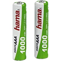 Hama - Rechargeable NiMH Batteries, Níquel e Hhidruro Metálico, 1000 mAh, 1.2 V, AAA Micro, 2 piezas, 13 g