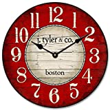 Boston Harbor Red Wall Clock, Available in 8 Sizes, Most Sizes Ship The Next Business Day, Whisper Quiet. Review