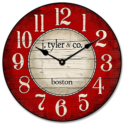 Cheap Boston Harbor Red Wall Clock, Available in 8 sizes, Most Sizes Ship 2-3 days, Whisper Quiet.