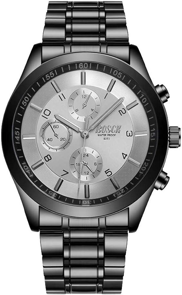 BOSCK Reloj de Pulsera para Hombre Sin Cronografo, Relojes con Correa de Acero Inoxidable, Movimiento de Cuarzo, Relojes analógicos Resistentes al Agua para Empresas