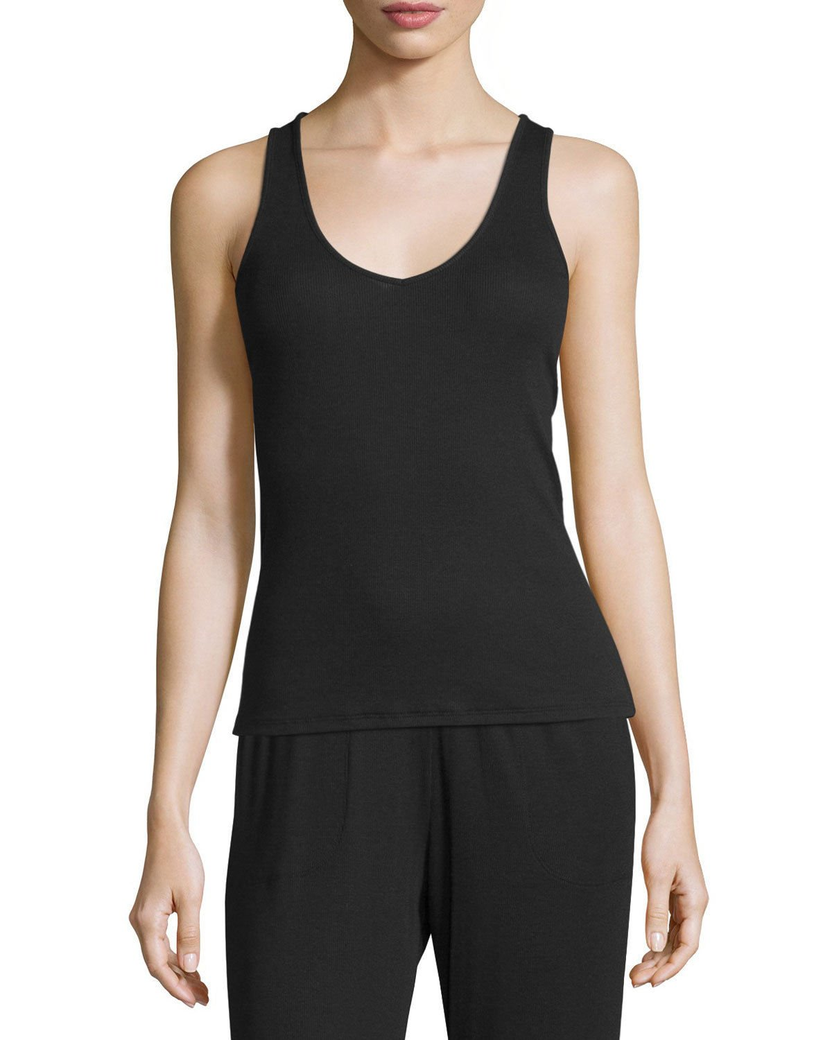 Skin Industries Skin Travel Rib Knit Soft Layer Scoop Neck Tank Top (Medium/Large)