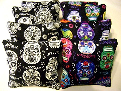 Sugar Skull Day of The Dead Skulls Cornhole Bean Bags Set of 8- Glow In The Dark by Generic