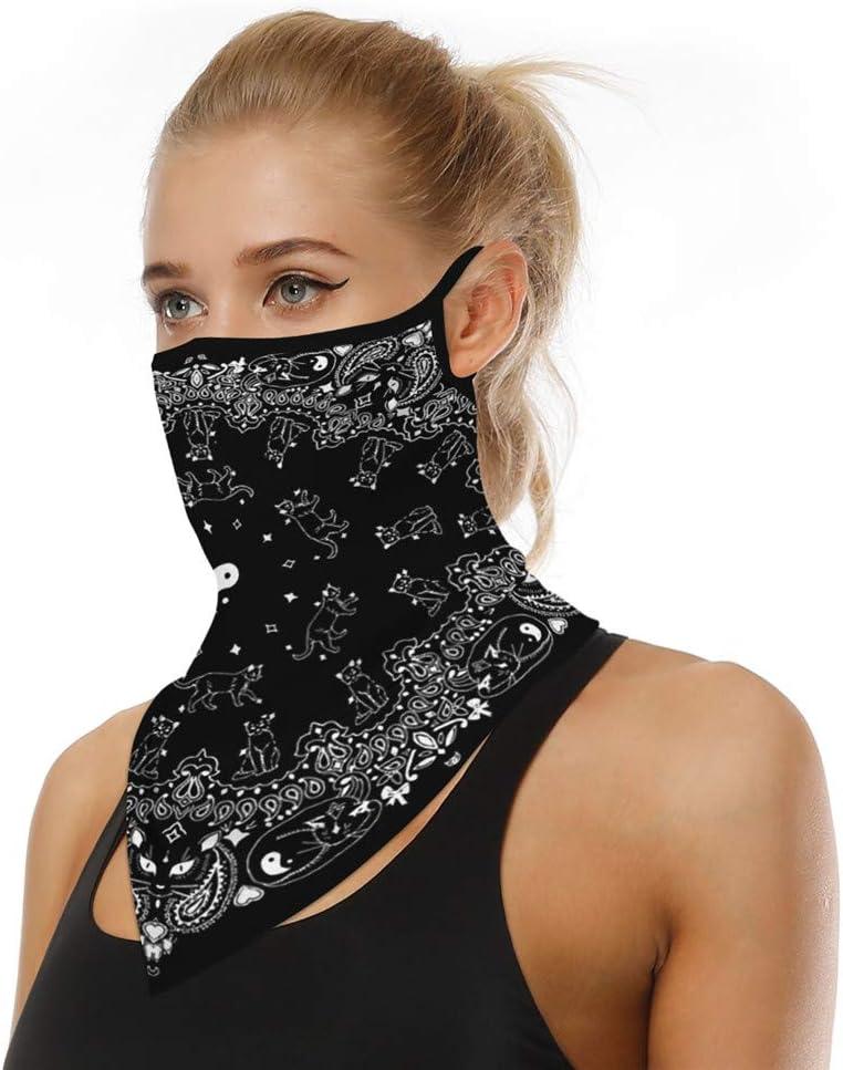 COZOCO Protección Facial, en stock, Reutilizable a prueba de polvo lavable Mascarilla de algodón con bucles para los oídos Bufanda deportiva Tubo para el cuello antipolvo para la cara (C2)