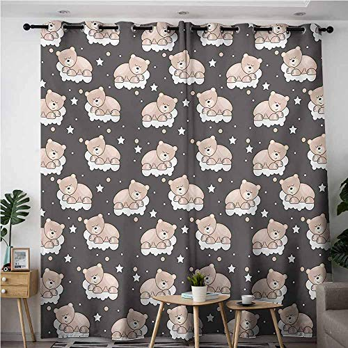 (AndyTours Grommet Curtains,Kids,Great for Living Rooms & Bedrooms,W108x72L,Dark Taupe Tan White)