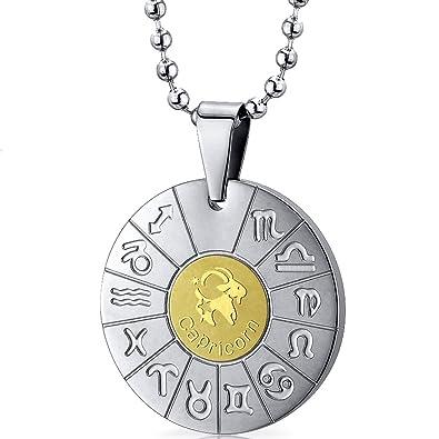 Peora Men\'s Capricorn Goat Sign Zodiac Symbol Stainless Steel Circle Pendant Necklace B0055OOITK