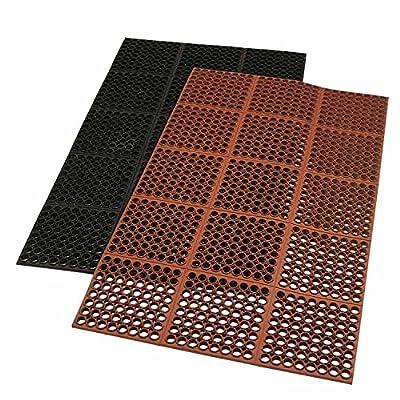 "Thermodyn ""Cleveland Classic"" - 3/4"" x 3' x 5' red rubber drain mat"