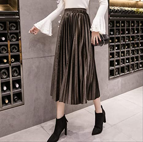 GDNTCJKY Faldas para Mujer Falda Plisada Falda Larga Swing Faldas ...