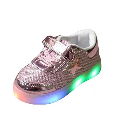 Zapatillas de deporte infantiles con luces LED, rosa, 22(inner Length:14cm
