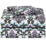 Ashley Damask 4 Piece Full Size Sheet Set for College Dorm Bedding