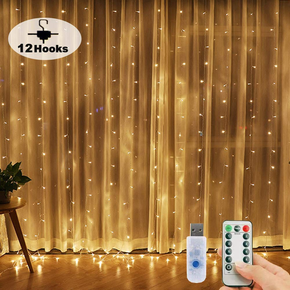 Window Curtain String Lights, 300 LED USB Powered Fairy Lights, 8 Lighting Modes Waterproof Decorative Lights for Wedding, Homes, Garden, Party, Bedroom Outdoor Indoor Wall Decorations (9.8x9.8 Ft)