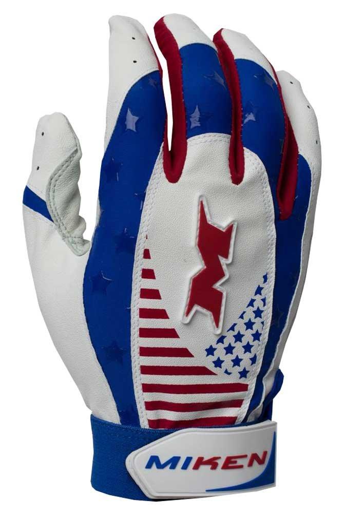 Miken Pro大人用野球/ソフトボールバッティング手袋creoraスパンデックス。mikpro B01BI5A1SQ Small レッド/ホワイト/ブルー レッド/ホワイト/ブルー Small
