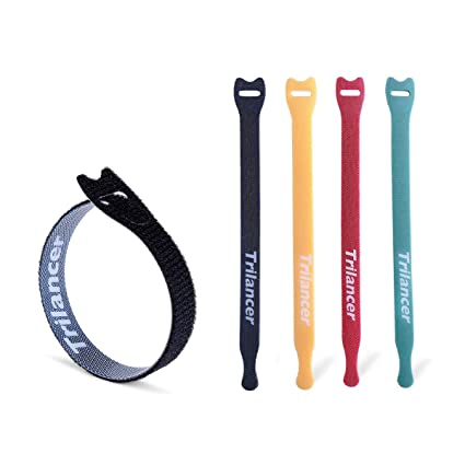 45c9b493020e Amazon.com: Reusable Cable Ties, Trilancer Cord Wraps, Adjustable Strap  Fastener, Cable Organizer, Fastening Hook and Loop, 8 Inches, 4 Colors, ...