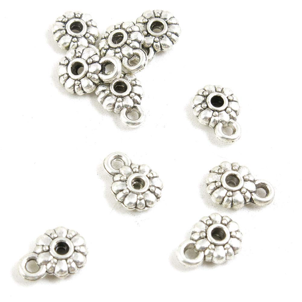 1440 Pieces Antique Silver Tone Jewelry Making Charms Crafting Beading Craft O1IR1 Bails Cord Ends