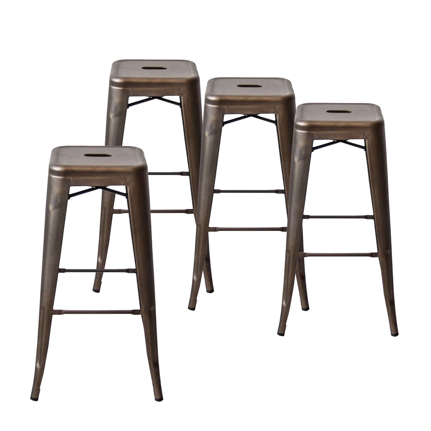Buschman Set of Four Bronze 30 Inches Counter High Tolix-Style Metal Bar Stools, Indoor/Outdoor, Stackable
