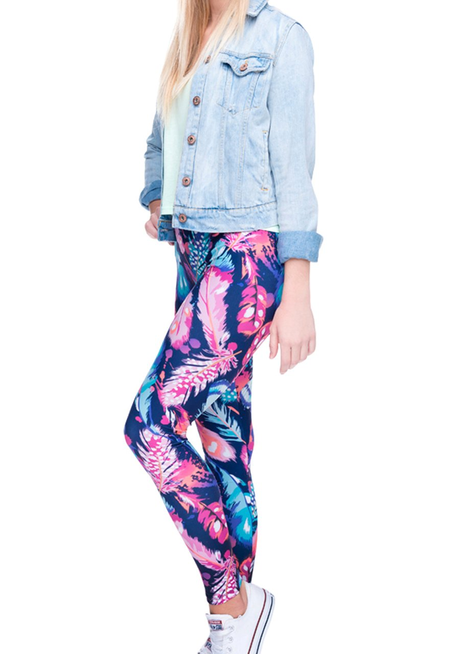 Ayliss Printed Brushed Leggings Regular or Plus Size Stretchy Capirs 22Pattern,Blue Feathers,XS-M