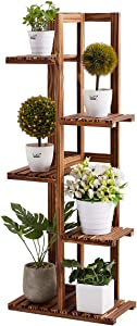 Rose Home Fashion Solid Pine Wood Plant Stand, 5 Tier 6 Potted, 41 Inch, Plant Stands Indoor, Outdoor Plant Stand, Plant Shelf, Plant Stands, Antirust Screws, Fit for 6 Flowerpots