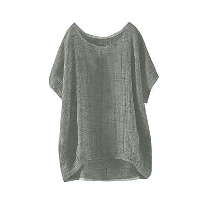 Amazon Com Kshion Women Plus Size Pure Color O Neck Polyester