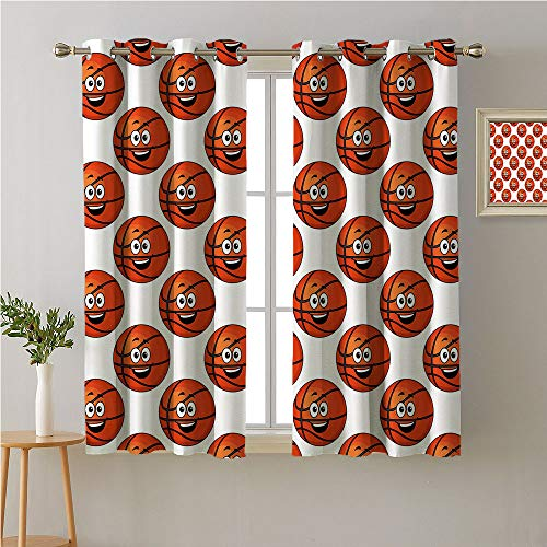 Jinguizi Basketball Grommet Curtain Kids,Happy Smiling Orange Balls Emoticons Entertainment Competition Sports,2 Panel Darkening Curtains,55W x 39L