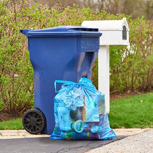 Recycling Tall Kitchen Trash Bags, 60 Count, Blue, 13 Gallon