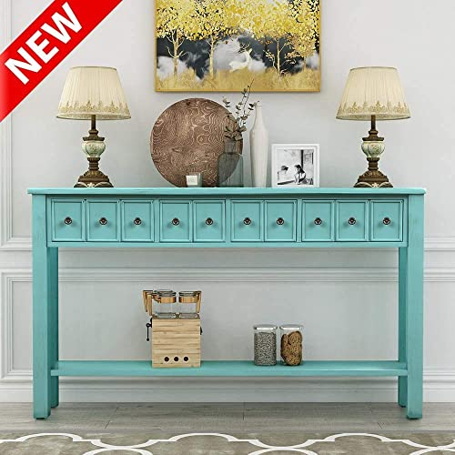 DANGRUUT Elegant 60 Console Table, Hallway Sofa Entryway Table with 4 Exquisite Drawers and Storage Shelf for Living Room, Retro Thicken Solid Wood Side Cabinet Blue