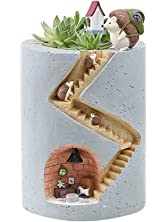 Segreto Creative Plants Flower Pots Brush Pots Ornaments for Succulent Plants Pot Decorated Desk,Garden,Living Room with Sweet Hedgehog Family