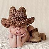 TININNA bebé recién nacido niño niña fotografía Prop Lovely Crochet de  Punto Sombrero Vaquero Botas Juego 479628dbc34