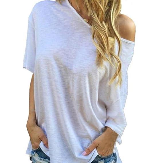 Cinnamou Camiseta Manga Corta Ajustable Mujer Blusa y Top Algodón Casual Verano: Amazon.es: Ropa y accesorios