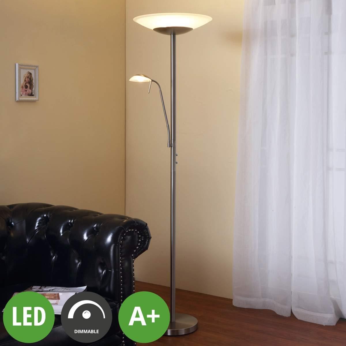 Lampenwelt LED Stehlampe 'Ragna' dimmbar (Modern) in Weiß aus Glas u.a. für Wohnzimmer & Esszimmer (2 flammig, A+, inkl. Leuchtmittel) | Wohnzimmerlampe, Stehleuchte, Floor Lamp, Deckenfluter