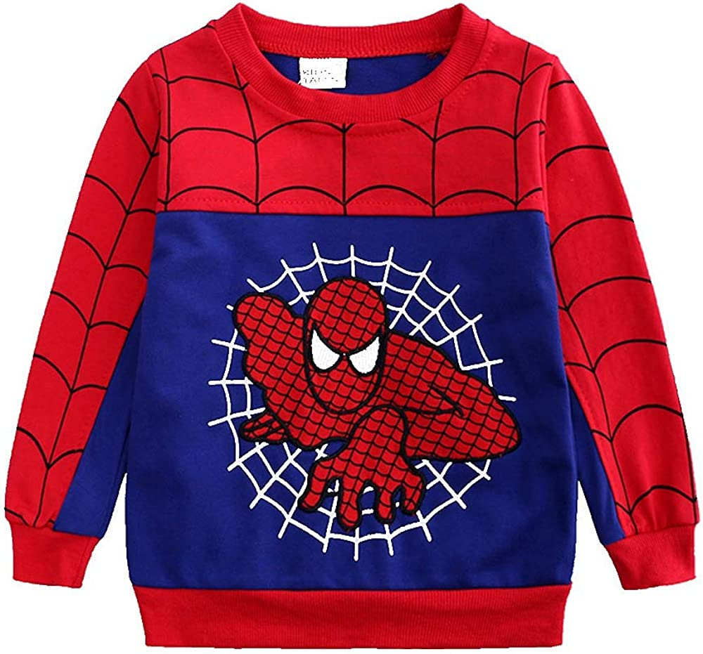 2Piece Toddler Kids Baby Boys Spiderman Outfits Set,Long Sleeve Pullover Hoodie Sweatshirt Pants Clothing Suit