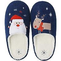 Moodeng Pantoufles Confort Femme Hiver Coton Chaud Peluche Maison Chaussons Mousse Accueil Slippers De Noël