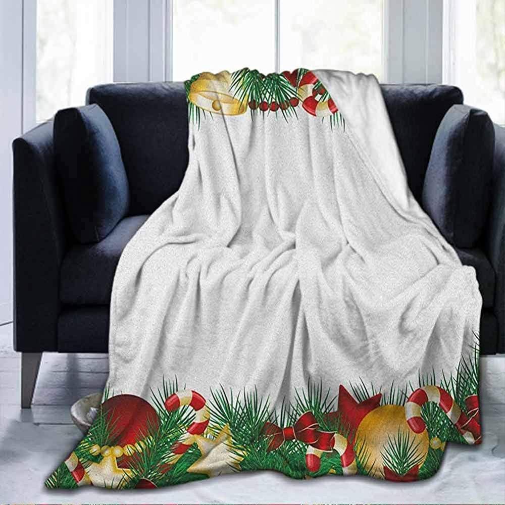 Morbida coperta Regina di Natale, Albero di Natale realistico con oggetti Stelle Bagattelle e Papillon