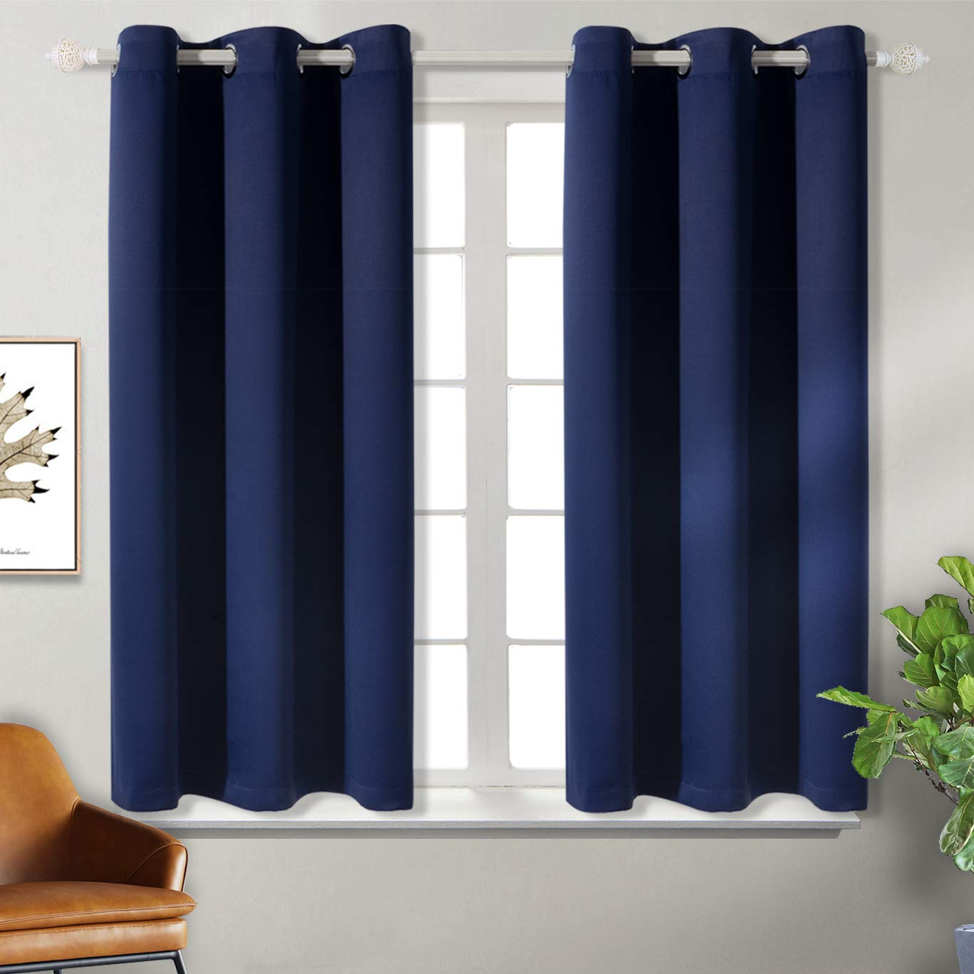 BGment Blackout Curtains for Bedroom - Grommet Thermal Insulated Room Darkening Curtains for Living Room, Set of 2 Panels (38 x 45 Inch, Navy Blue)