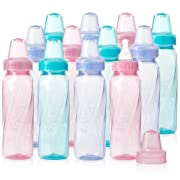 Evenflo Feeding Classic Tinted Plastic Standard Neck Bottles for Baby, Infant and Newborn, Pink/Lavender/Teal, 8 Ounce (Pack of 12)