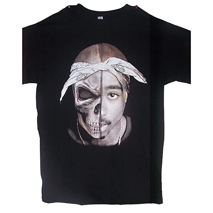 dad2d620c Tupac 2Pac Shakur Skull Cotton US Screen Printed T-Shirts - Men's Size:  Medium