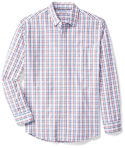 Amazon Essentials Men's Regular-Fit Long-Sleeve Casual Poplin Shirt, Red/White/Blue Plaid, Medium (Best Brands For Mens Formal Shirts)