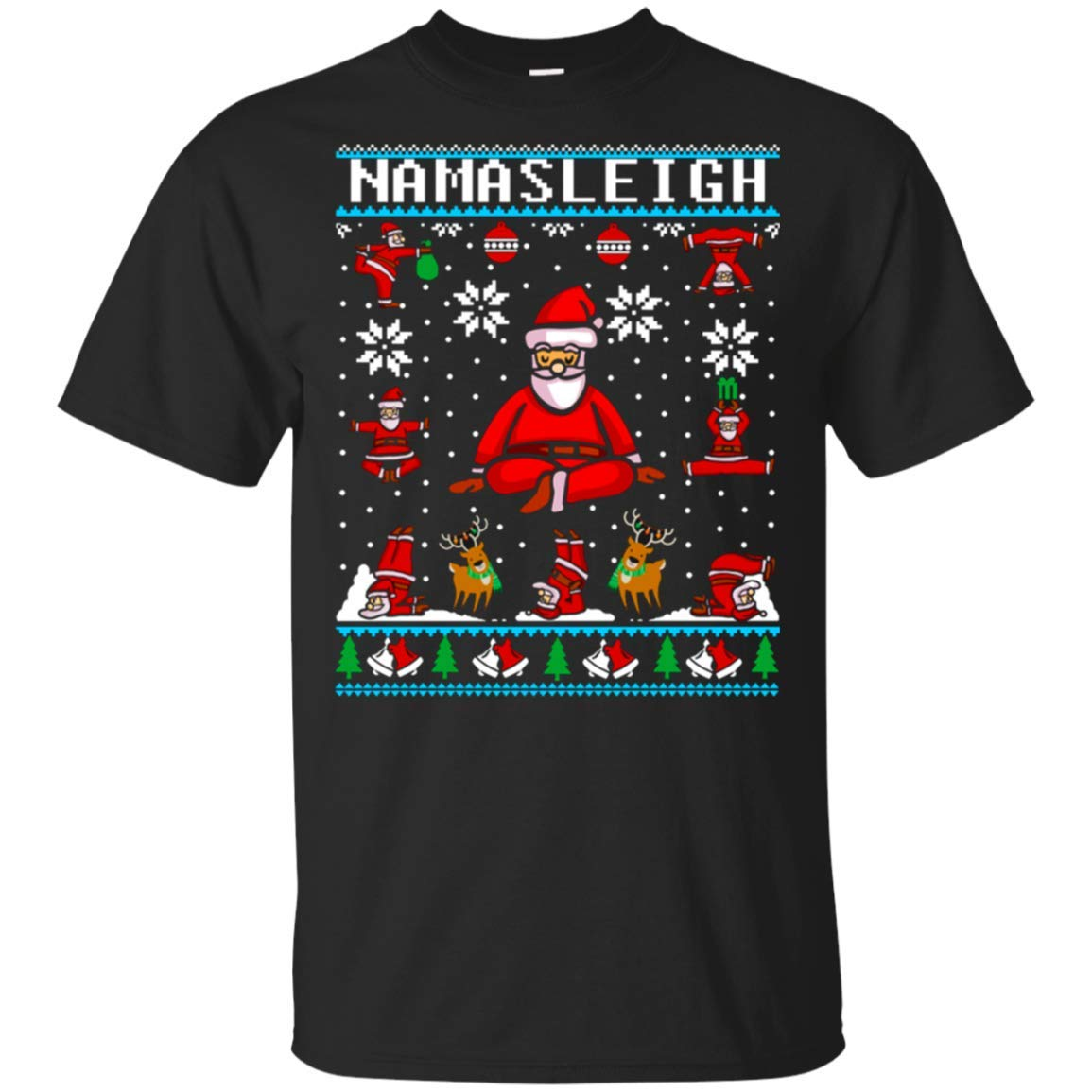 Namasleigh Yoga Funny Christmas Sweater Tshirt Black S5 Awesome Gifts