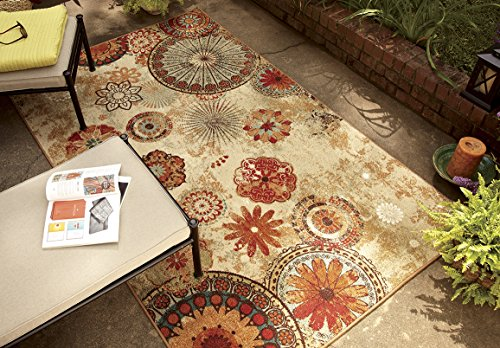 Mohawk Home Printed Indoor/ Outdoor Alexa Medallion Multi Rug, 8'x10'- Family Room Ideas - Make quick & easy changes to any room in your home in minutes by changing the rug - add color & patterns