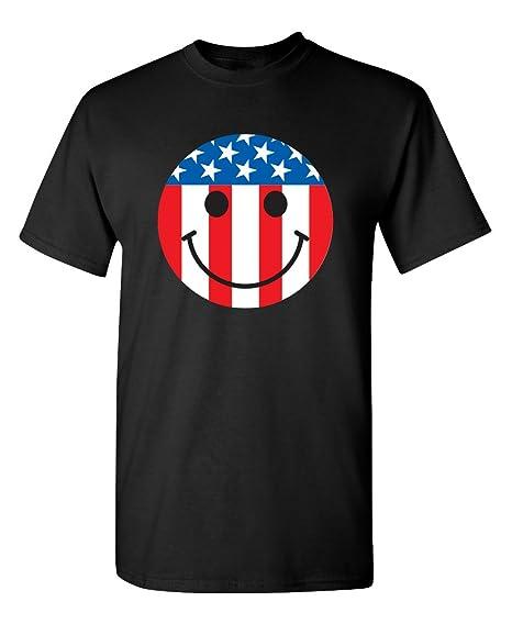 Feelin Good Tees USA Flag Smile Face Emoticon Patriotic 4th of July 2nd  Amendment Funny T 6ab0e2826
