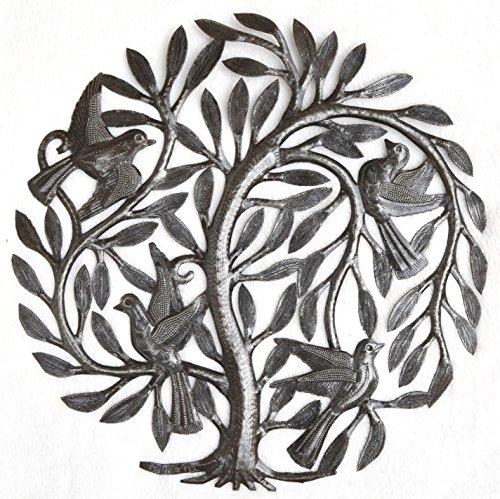 Leaving the Nest Garden Tree of Life, Haitian Metal Art, Steel Drum, Outdoor, Indoor Decor 15