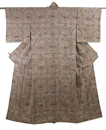 リサイクル 着物 小紋 絞り 正絹 袷 亀甲模様 裄61.5cm 身丈155cm