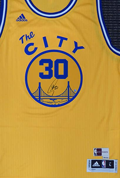 deed650ec ... new zealand golden state warriors stephen curry autographed adidas swingman  yellow the city jersey steiner holo