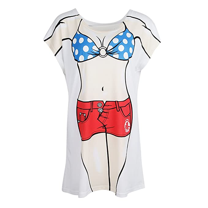 080dad9941 D DOLITY Novelty Womens Muscle Man Bikini Print Bathing Suit Cover up Dress  Loose T Shirt