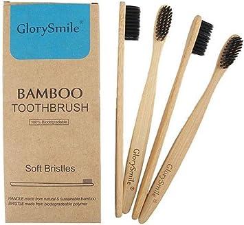 Cepillo de dientes de bambú biodegradable, cerdas suaves de carbón ...