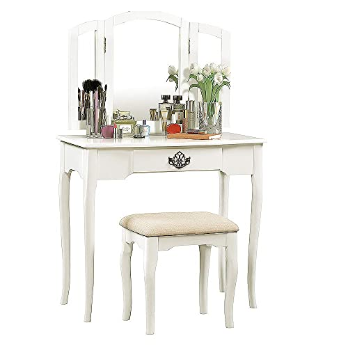 Romatlink Dressing Desk MakeupTable 1 Drawers Storage Capacity with Gently Curved Base Legs and Smoothed Rounded Edges,Suitable for Everyday Makeup,The Space As A Work Desk White