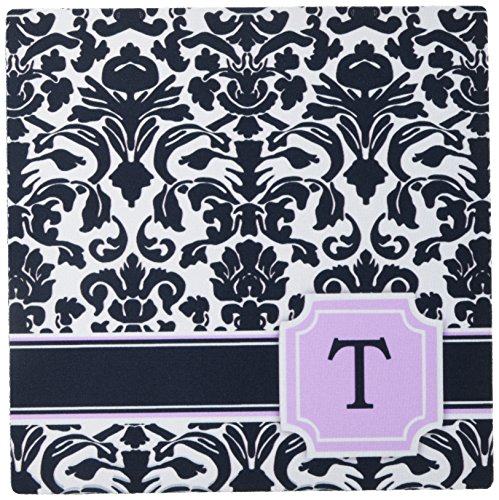 3dRose LLC 8 x 8 x 0.25 Inches Mouse Pad, Personal Initial T Monogrammed Pink Black and White Damask Pattern Girly Stylish Personalized Letter (Girly Letters)