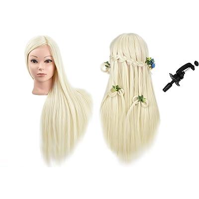 """24""""sintético maniquí de peluquería formación cabeza con pelo y libre abrazadera soporte Rubio"""