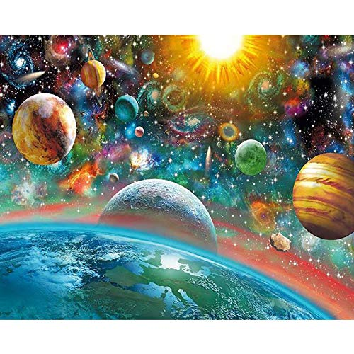 YUMEART Diamond Dotz Paint with Diamonds Color Planet Out Space Embroidery Mosaic Kits Wall Sticker Celestial Body